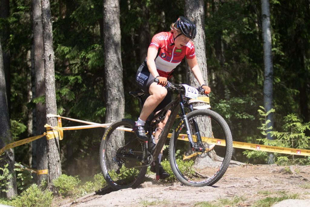 Ingrid Sofie Bøe Jacobsen vant 3 av 3 etapper i fjorårets Rye Terrengsykkelfestival. Foto: Bengt Ove Sannes